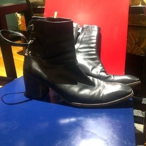 YSL Black Leather Chelsea boot with Cuban heal
